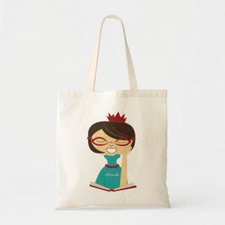 Personalized Bookworm Princess Bookbag Tote Bag