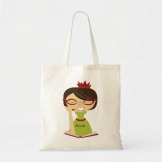 Personalized Bookworm Princess Bookbag Tote Bag