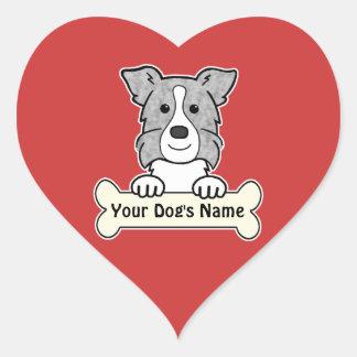 Personalized Border Collie Heart Sticker