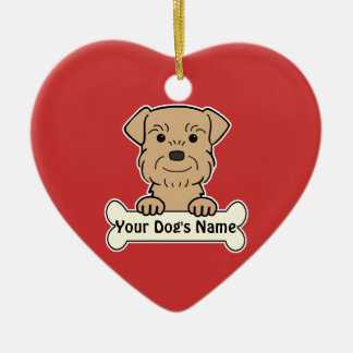 Personalized Border Terrier Double-Sided Heart Ceramic Christmas Ornament