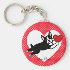 Personalized Boston Terrier and Heart Keychain