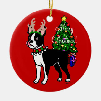 Personalized Boston Terrier Christmas Antlers Ceramic Ornament