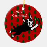 Personalized Boston Terrier Christmas Double-Sided Ceramic Round Christmas Ornament