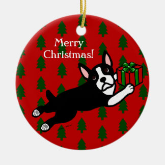 Personalized Boston Terrier Christmas Christmas Ornaments