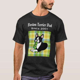 Personalized Boston Terrier Daddy 1 Plaid T-Shirt