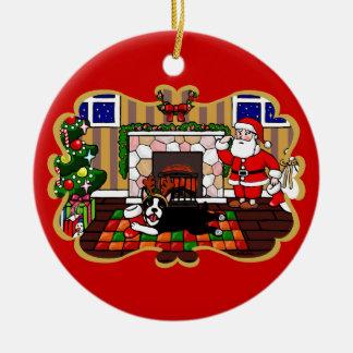 Personalized Boston Terrier & Santa Christmas 3 Ceramic Ornament