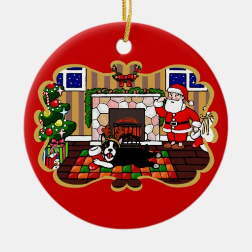 Personalized Boston Terrier & Santa Christmas 3 Double-Sided Ceramic Round Christmas Ornament