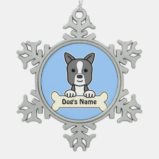 Personalized Boston Terrier Snowflake Pewter Christmas Ornament