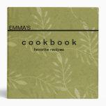 Personalized Botanical Art Recipe Cookbook 3 Ring Binder