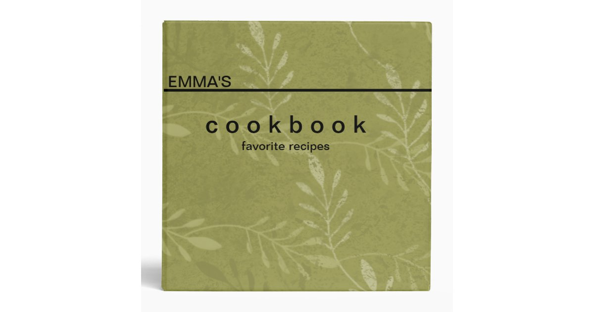 Personalized Botanical Art Recipe Cookbook 3 Ring Binder