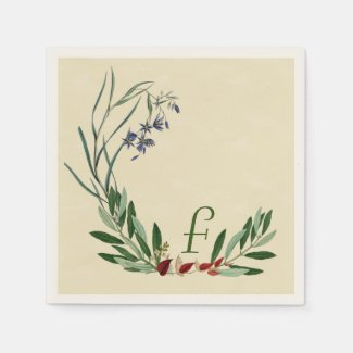 Personalized Botanical Olive Leaf Paper Napkins