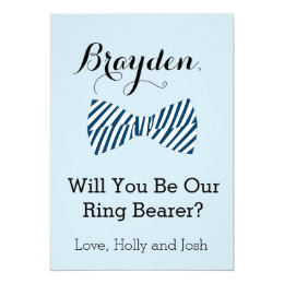 Personalized Bow Tie Ring Bearer Proposal Card