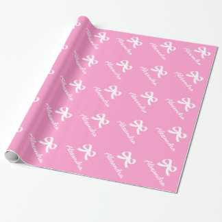 Personalized bow wrapping paper for new baby girl