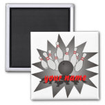 Personalized Bowling 2 Inch Square Magnet