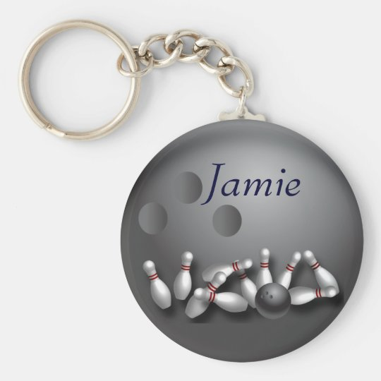 Personalized bowling ball and strike keychain