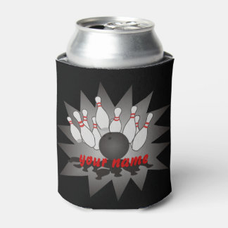 Personalized Bowling Ball Pins Strike Can Cooler