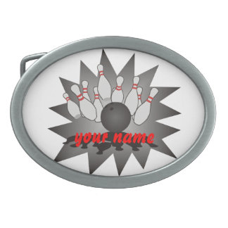 Personalized Bowling Oval Belt Buckle