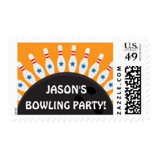 Personalized bowling party postage stamps