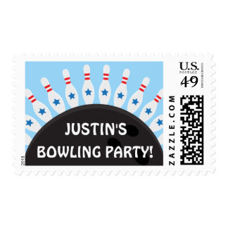 Personalized bowling party postage stamps, blue
