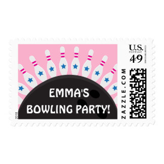Personalized bowling party postage stamps, pink