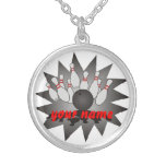 Personalized Bowling Round Pendant Necklace