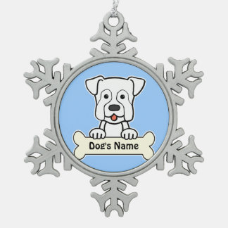 Personalized Boxer Snowflake Pewter Christmas Ornament