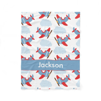 Personalized Boy Airplanes Fleece Blanket