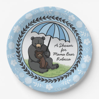 Personalized Boy Baby Shower Mama Bear and Cub Paper Plate
