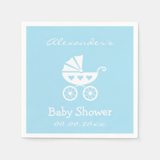 Personalized boy baby shower napkins with carriage