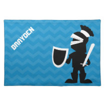 Personalized Boy Black Knight Blue Chevron Cloth Placemat
