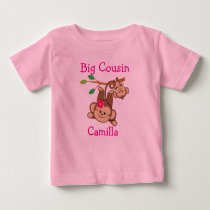 Personalized Boy, Girl Monkeys Big Cousin Baby T-Shirt