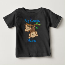 Personalized Boy Monkeys Big Cousin Baby T-Shirt