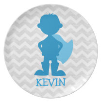 Personalized Boy Superhero Silhouette Gray Chevron Melamine Plate