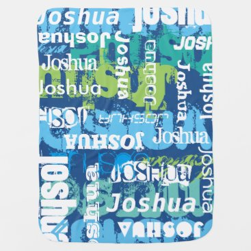 Toddler & Baby themed Personalized Boy's Blue Green Subway Art Baby Blanket