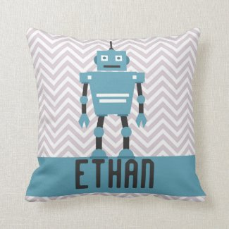 Personalized Boys Blue Robot Pillow