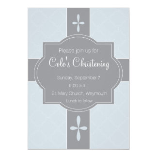 "Personalized Boys Christening, Baptism Invitation 5"" X 7"" Invitation Card"