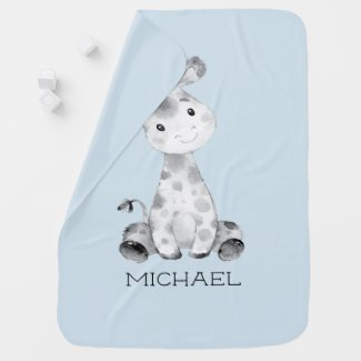 Personalized Boys Giraffe Baby Receiving Blanket