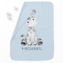 Personalized Boys Giraffe Baby Receiving Blanket