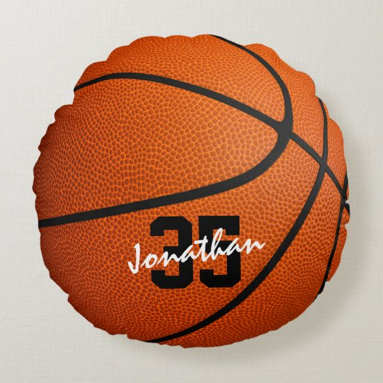 personalized basketball round pillow for boys or girls