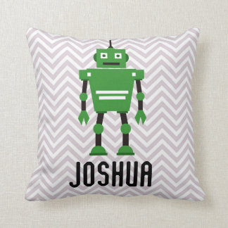 Personalized Boys Green Robot Pillow