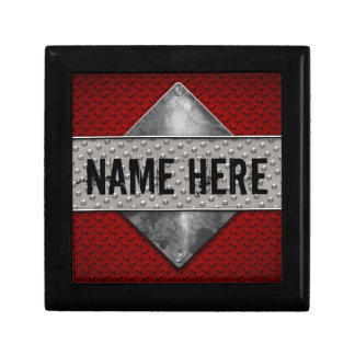Personalized Boys Guys Red Grunge Metal Look Keepsake Box