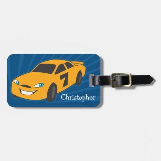 Personalized Boys Luggage Tag - Yellow Racer