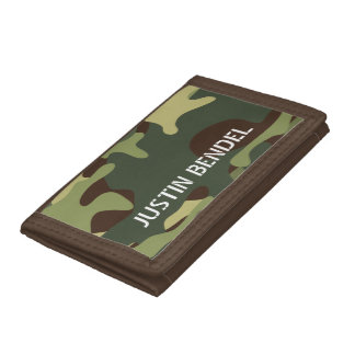 Personalized Boy's Men's Camo Camouflage Military Tri-fold Wallet