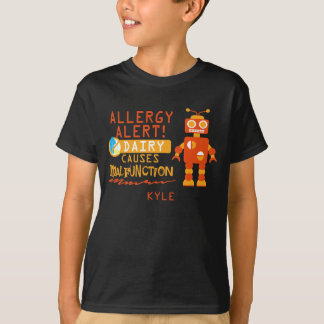 Personalized Boys Orange Robot Dairy Allergy Alert T-Shirt