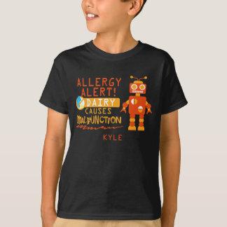Personalized Boys Orange Robot Dairy Allergy Alert T-Shirt