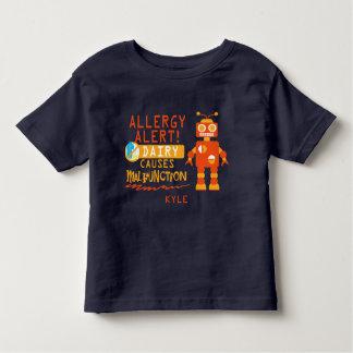Personalized Boys Orange Robot Dairy Allergy Alert Toddler T-shirt