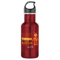 Personalized Boys Orange Robot Nut Allergy Alert Stainless Steel Water Bottle