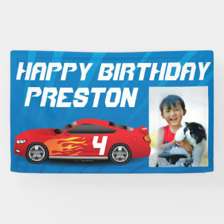 Personalized Boys Race Car Birthday Party Photo Banner