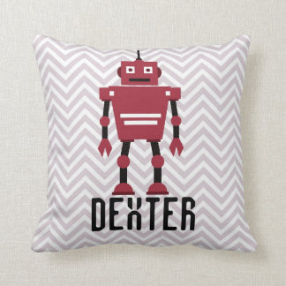 Personalized Boys Red Robot Pillow Throw Pillow
