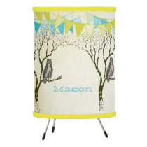 Personalized Boys Room Banner Modern Owl in Tree Tripod Lamp